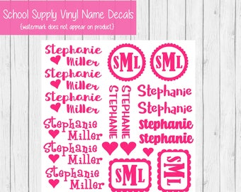 Back to School Name Labels - School Labels for Girls - Name Labels - Vinyl Decals - School Supply Labels - Back to School Labels