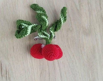 Red brooch, Crochet brooch, crochet jewelry, Coworker gift, Amigurumi brooch for women, gift for mom, brooch pin, crochet pin, crochet gift