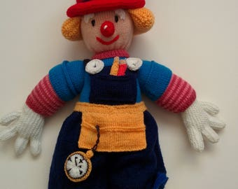 Hand Knitted, Twiddle, Red Nose Gang, Trademen Clown (From Jean Greenhowe Pattern)