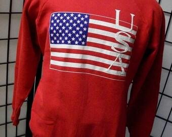 Patriotic USA Flag vintage red raglan sweatshirt Fruit of the Loom 2XL Made in the USA