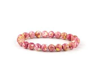 Pink Jasper Bracelet/ Pink Yoga Bracelet/ Pink Gemstone Bracelet/ Pink Boho Bracelet