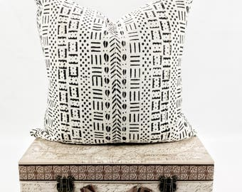 18x18 White Authentic African Mudcloth Pillow Cover, Boho Pillows, Mudcloth Pillows, Boho Pillow Cover, Coffee Bean, Arrow Print Pillow,