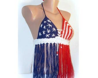 Red White & Blue Crochet  Halter Top With Fringe Made to order in your Size! Patriotic 4 of July Festival, Rave, Hooping Top