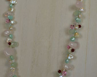 Keshi Pearl and Gemstone Necklace