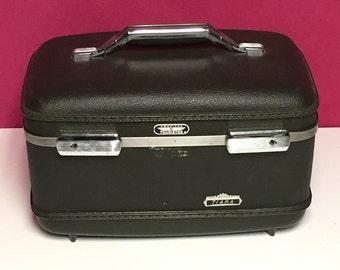Vintage American Tourister, Tiara, Luggage Train Case, Dark Green Overnight Bag Makeup Case Display Carry On Luggage