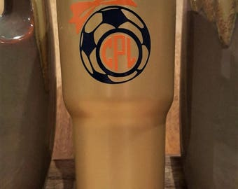 Personalized Powder Coated Tumbler (Mug). Soccer Ball with a Bow Decal. Choose decal color, tumbler color & size. Perfect for gift giving.