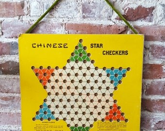 Vintage Chinese Checkers Wall Hanging, Board Game, Game Room, Kids Room
