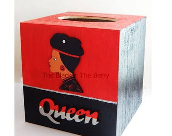 Queen Tissue Box Cover African Lady Wood Tissue Box Holder Afrocentric for Women African American Home Decor Accessories Red Black Silver