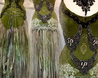 Woodland wedding dress,Goddess wedding dress,boho wedding dress green,elven wedding dress,bohemian wedding dress,whimsical wedding dress,raw
