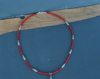Small Bead Red Coral Necklace, Untreated Mediterranean Coral Pendant Necklace, Solid sterling Silver Necklace, Unique  Necklaces For Women