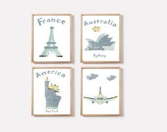 Nursery wall decor,baby boy art print,travel nursery,blue,France,Australia,USA,plane,monuments nursery
