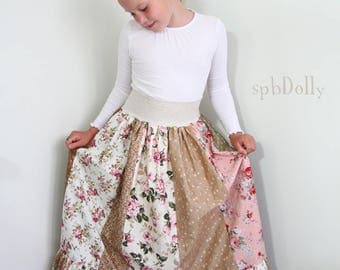 Handmade patchwork skirt for f girl or a woman
