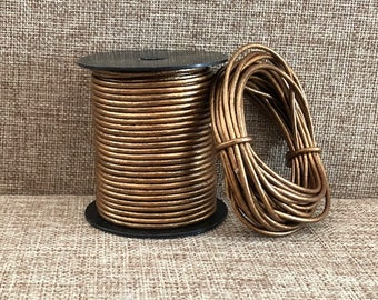 15 Yards Bronze Metallic Round Leather Cord - 1.5mm or 2mm Bronze Metallic Genuine Indian Leather Cord - 15 Yards LCR1.5-2003