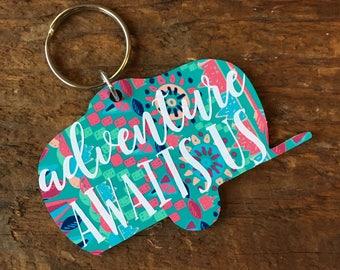Adventure Camper Keychain // camper keychain, rv keychain, lilly pulitzer, monogram keychain, adventure, tribal, road trip, travel, camping