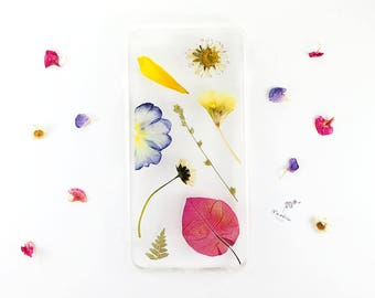 iPhone 6 Plus case with brightly coloured real pressed flowers