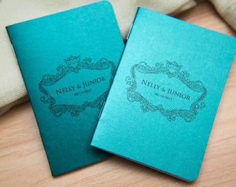 25 Teal Pearlised Mini Notebook Favours. Custom wedding favor place cards, wedding decor. Unique Notepad favours. Personalised favours.
