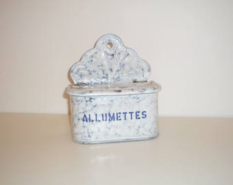 Vintage French enamelware Matches box Wall Hanging .White and  Blue Marbled / Graniteware enamel