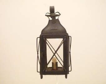 Rare small Antique French Candle Lantern Toleware Candle holder . Storm Lantern / Rustic Hanging Lamp with Boat anchor Garden Light