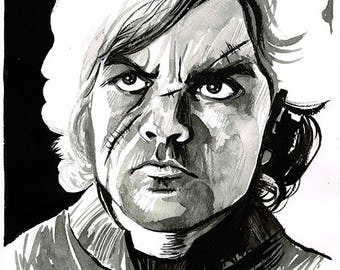 Game of Thrones - House Lannister - Tyrion original ink portrait drawing