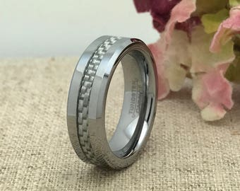 6mm Personalized Tungsten Wedding Band, Custom Engraved Wedding Ring w/ Checkered Carbon Fiber Inlay, Promise Ring, Purity Ring