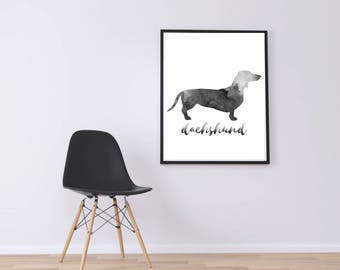 WATERCOLOR-  Dachshund Silhouette- Wall Art