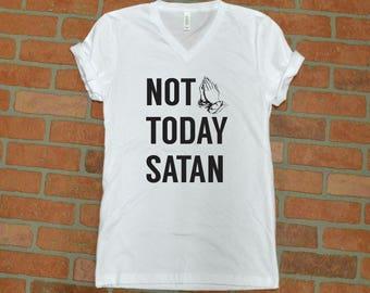 Not Today Satan | Not Today Satan Shirt - Jesus Saves Bro - Jesus Shirt - Vneck