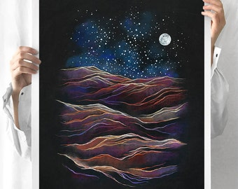 Desert Moon Print - Chalkboard Landscape, Sand Dunes, Starry Night, Blue, Purple & Black, Giclée / 8x10, 11x14, 16x20