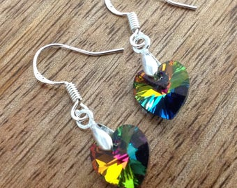 Handmade Swarovski Crystal Heart Earrings - Medium Vitrail, Crystal Earrings, Silver Earrings, Teardrop Earrings, Sterling Silver Earrings