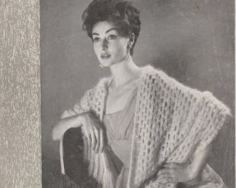 1950's Stole And Girl's Hood | Original Vintage Knitting Pattern | Munrospun 7068 | Woman's Mohair Wrap Shawl | Girl's Hat Bonnet