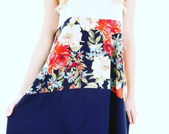 Beach floral navy dress or cover up