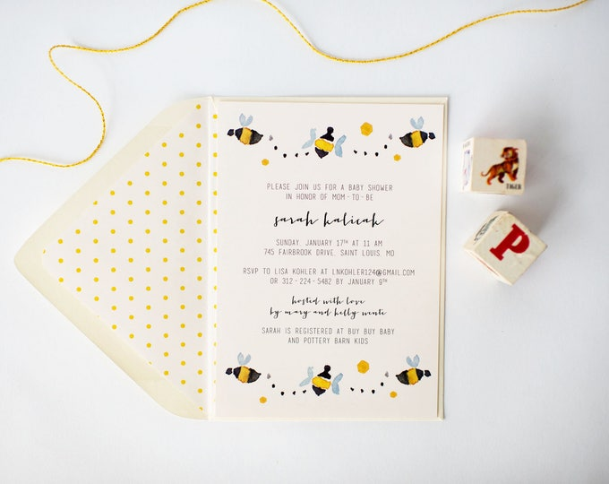 bees baby shower invitation  (sets of 10)  //  bees boy girl gender neutral modern yellow blue baby shower invite