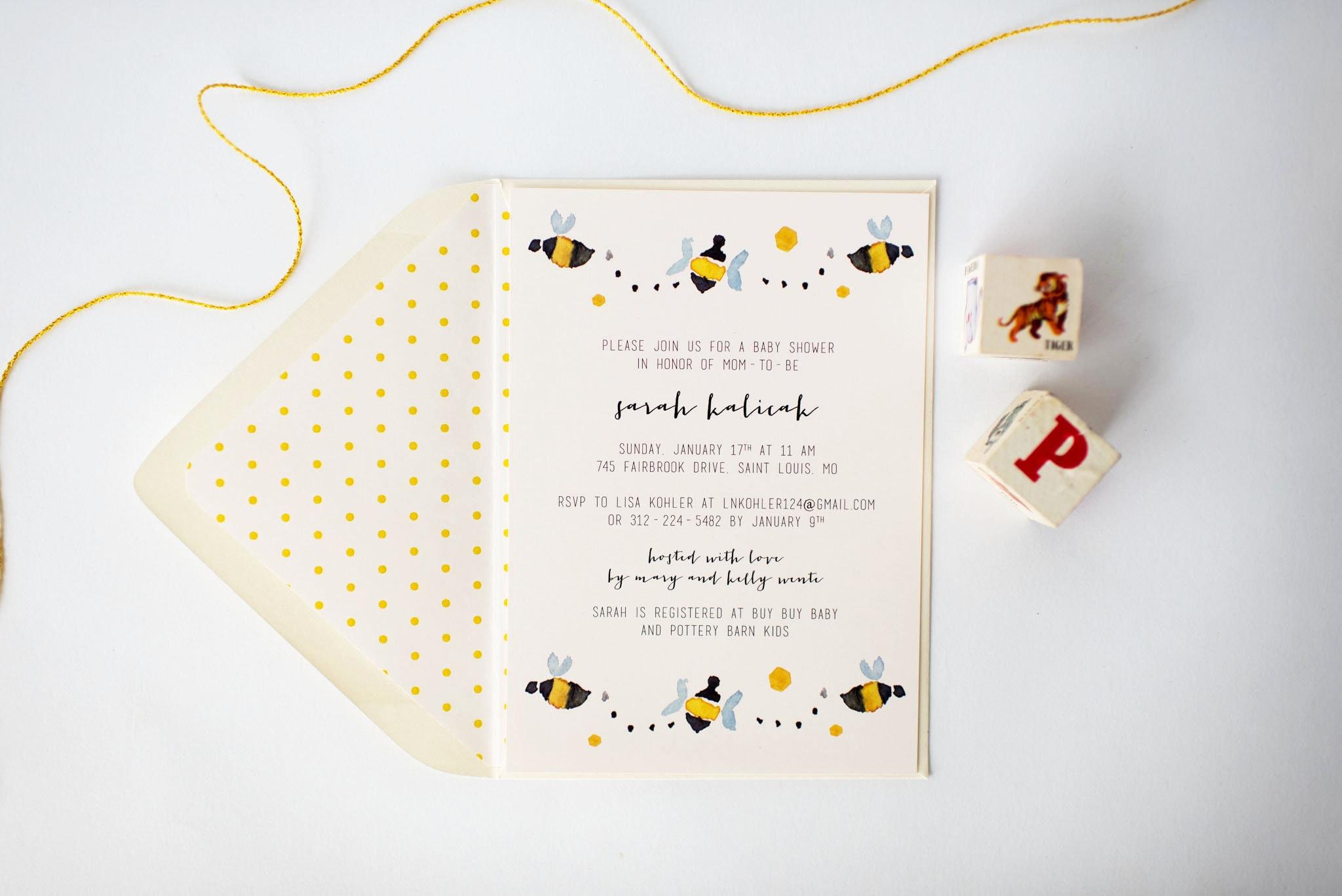 bees baby shower invitation (sets of 10) // bees boy girl gender ...