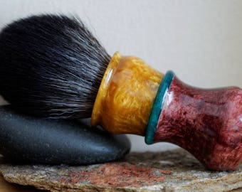 Shaving Brush - Hand-Made with Muave Coral, Sparkle Gold and Emerald Green Resins Handle and a Choice of Knots