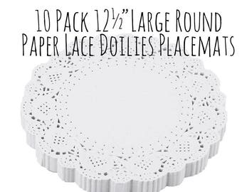 "White Paper Lace Doily, 10 Pack of 12"" 1 Ft Large Round White Paper Doilies, Placemats, Cake Mat, Wedding Supply, Party Supply, Shabby Chic"