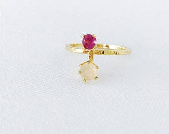 Pink Tourmaline and Opal Ring
