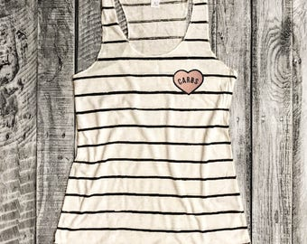 S-XL CARB LOVERS Heart Patch on Ivory/Black Stripe Racerback Tank, Alternative Apparel, Graphic Tee, Screenprint,Gym Shirt,Funny Shirt