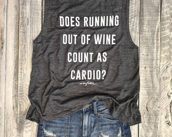 Does Running Out Of Wine Count As Cardio Asphalt Slub/White, Workout Top, Muscle Tank, Funny Graphic Muscle Tee, Wine, Chardonnay