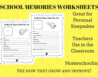 School Memories Worksheet, Teachers Back to School Downloads, First and Last Day of School Memories, Students Growth Records, PDF Download