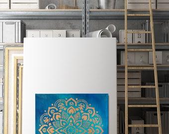 Gold Leaf Mandala 12x12 Painting-Mandala Pattern/Blue,Turquoise,Teal Paint-Acrylic, Square Gold Leaf/square painting/gold foil/Mandala Art
