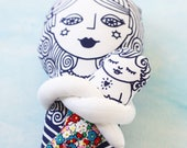 Mermaid mom and baby cloth doll pair with red flower cotton fabric tail / screenprint handmade doll toy set nursery decor softie