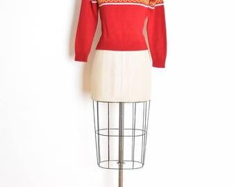 vintage 70s sweater, reindeer sweater, deer sweater, 70s jumper, 70s top, 70s shirt, burgundy sweater, 70s clothing, nordic sweater, XS