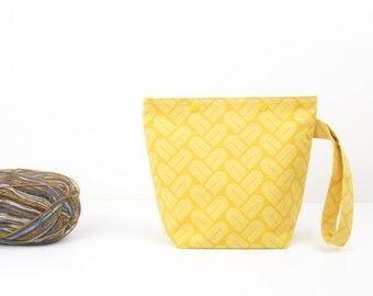 Mustard yellow one skein project bag, geometric print sock knitting bag with snaps, minimal crochet storage