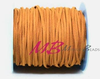 3mm Camel Ultra Micro Fiber Suede, 5 Yard Spool Faux Sued, 15 Feet Flat Cord For Jewelry Making
