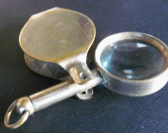 Vintage Metal and Glass Pocket Swivel Magnifying Glass with Chain Hanger