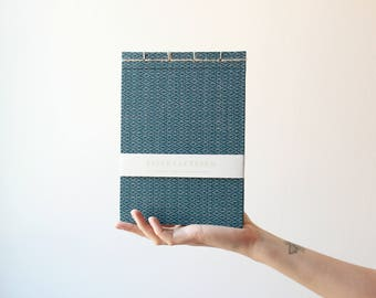 Handmade notebook, japanese bookbinding, japanese traditional pattern notebook, made in barcelona, blue notebook, minimal notebook