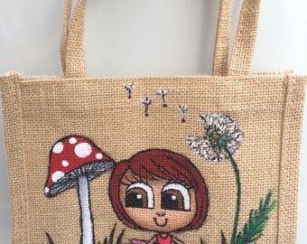 Little Garden Pixie bag, redhead fairy/pixie design, hand painted by professional artist