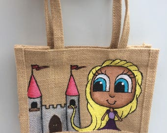 Repunzel Inspired Small Jute Bag, Hand Painted, Princess, Castle, Tangled, Disney princess