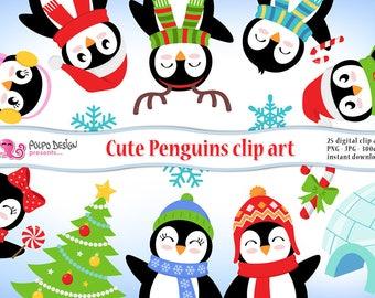 Cute Penguins clipart. Christmas penguin scrapbook, winter clip art, PNG Penguins, igloo clipart, christmas birds clipart, digital penguins.