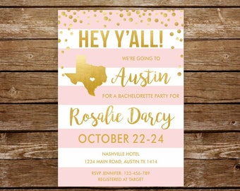austin bachelorette weekend invitation austin bridal shower invitation texas invitation printable austin bachelorette austin texas party - Wedding Invitations Austin Tx