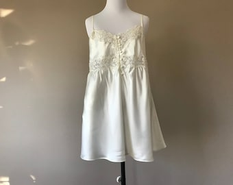 L / NOS NWT Babydoll Lingerie Negligee with Panty / Bridal Ivory Satin Lace & Sequins / Large / by Parisian Intimates / FREE Usa Shipping